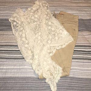 Tan pants and cardigan
